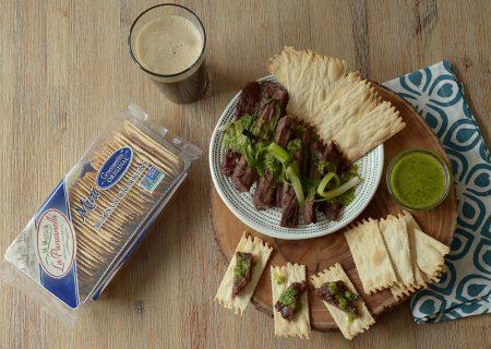 Party Steak With Grilled Scallion Salsa Verde with La Panzanella Croccantini crackers